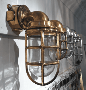 Cast Brass Ship's 90-degree Passageway Light - Two Sizes & Two Finishes Ship Light