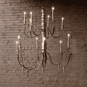 Wood and Iron Candle Light Chandelier Chandelier