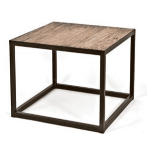 Kona Rectangular Metal and Elm Side Table Side Table