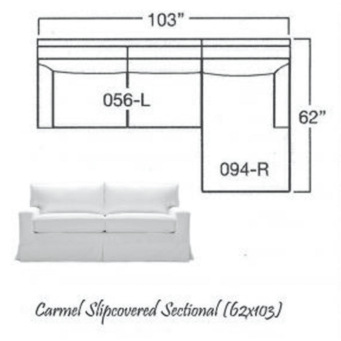 "Carmel Slipcovered Sectional-1 w/Lounge 103""x62"""
