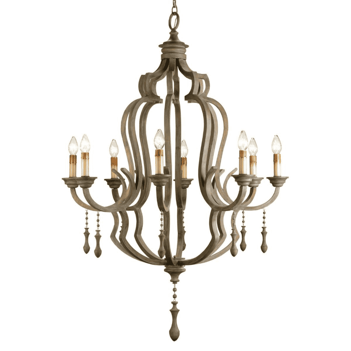 Scarborough Grey Wash Wooden Chandelier