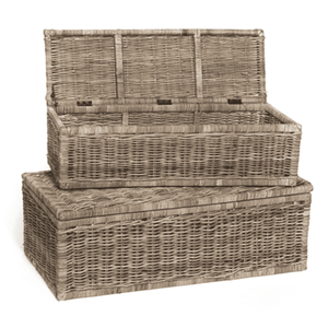 Rect Rattan Chests, Set of Two Chest