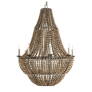 Santa Barbara Wood Bead Chandelier Chandelier