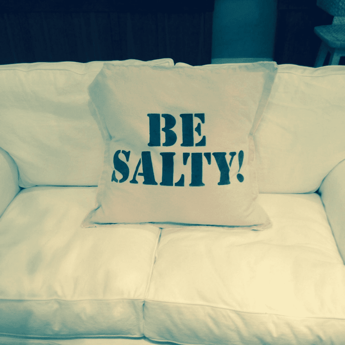 "Canvas 28"" Pillow - Hand Painted Beach Phrase - ""Be Salty!"""