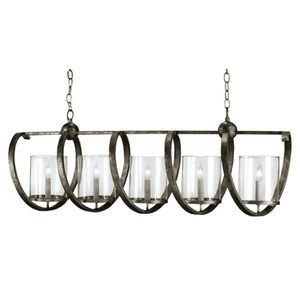Skillington Seeded Glass & Iron Linear Chandelier - Two Sizes Linear Chandelier