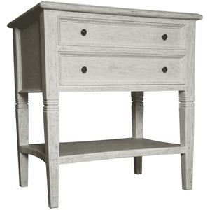 "Jensen 28"" Two-Drawer Side Table - White Washed Side Table"