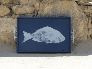 Blue Lacquered Fish Tray with Silver Cleat Handles Entertaining