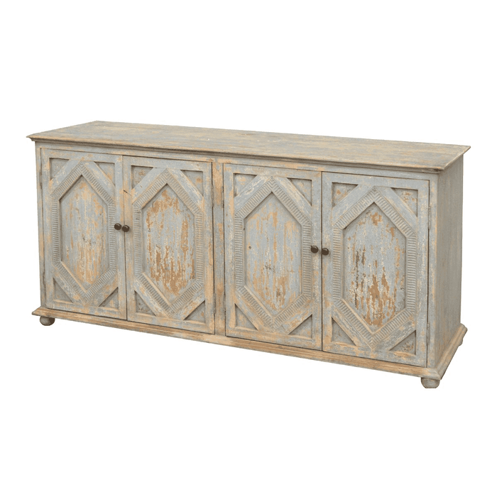 Distressed Carved Sideboard Light Blue