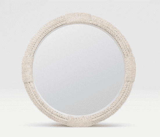 White Washed Round Rope Mirror