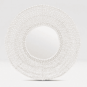 "White Wood Bead 45"" Round Mirror Mirror"
