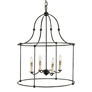Birdcage Wrought Iron Lantern (Two Sizes & Two Finishes) Chandelier