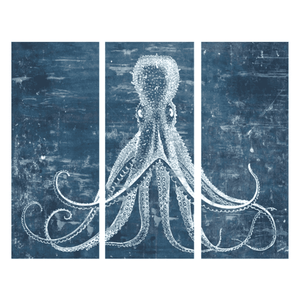 "Blue Octopus 60"" Triptych Giclee Art"