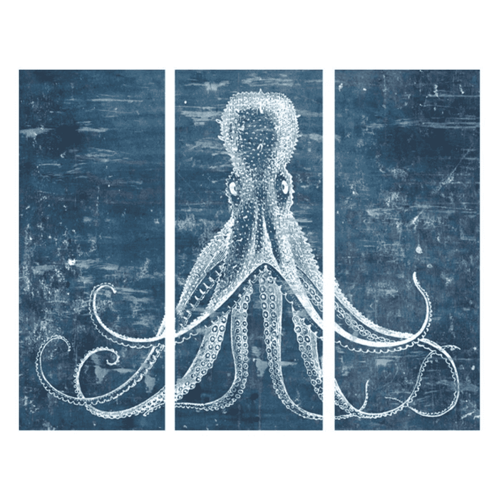 "Blue Octopus 60"" Triptych Giclee"