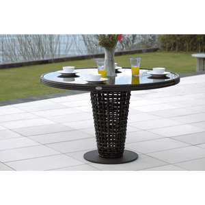 Dune Road Outdoor Round Dining Table With Glass Outdoor Furniture