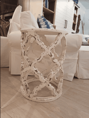 Starlight Lattice Side Table-Whitewashed Side Table