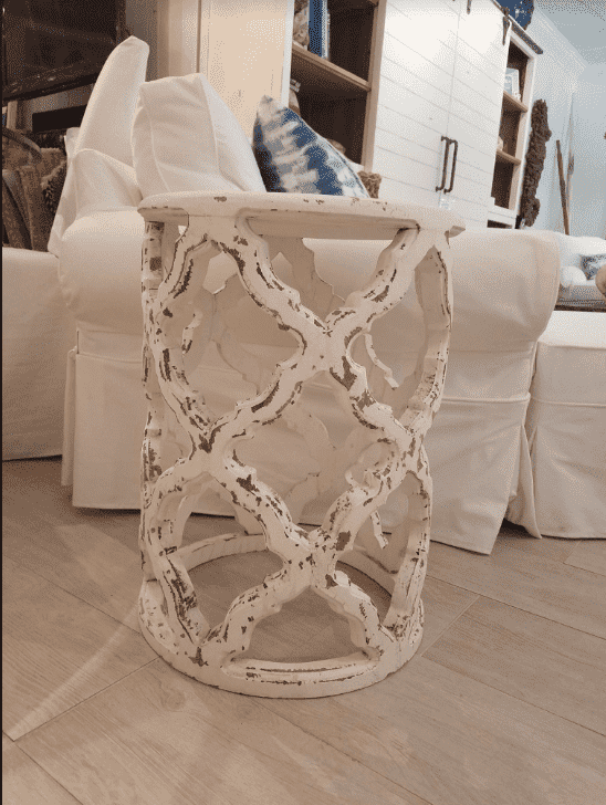 Starlight Open Lattice Side Table-Whitewashed
