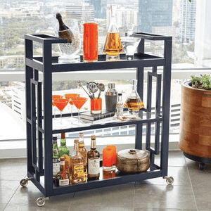 "Amalfi Bar Cart 36"" - Two Colors: Ink or White Bar Cart"