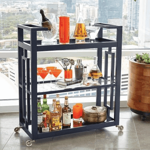 "Amalfi Bar Cart 36"" - Two Colors: Ink or White"