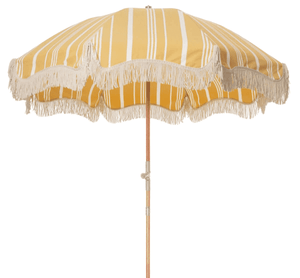 The Premium Beach Umbrella - Vintage Yellow Stripe Beach