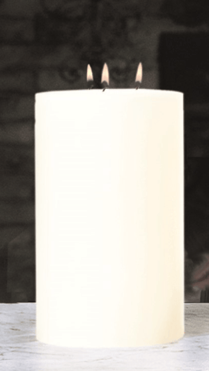 "Maester 3-Wick 5"" Diametet Pillar Candle - Four Heights Available Candle 5"" x 8"""