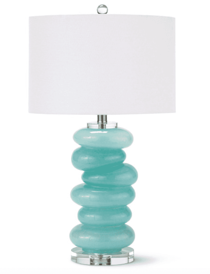 Aqua Glass Pebble Table Lamp