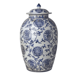 Blue & White Grape Design Temple Jar Decor