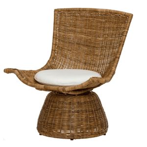 Croatia Woven Rattan Swivel Chair - Small Accent Chair