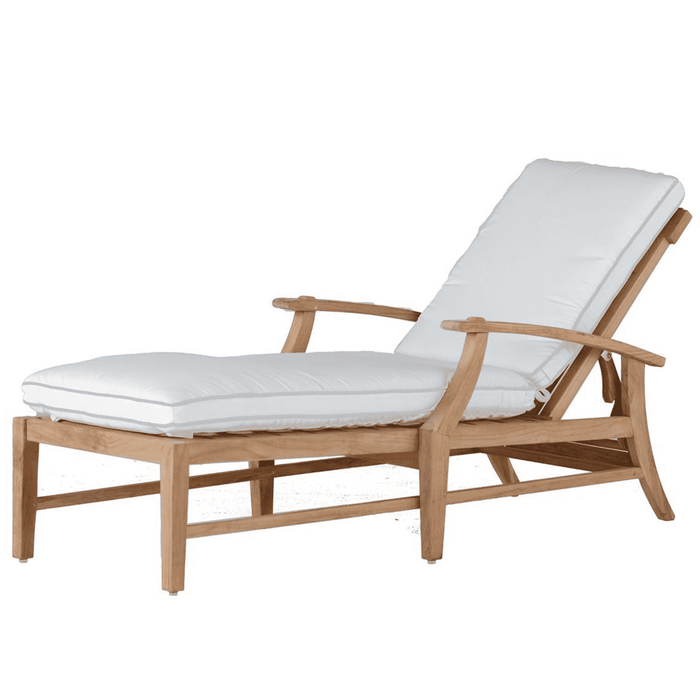 "Cape Cod Natural Teak 30"" Outdoor Chaise Lounge w/Cushion"