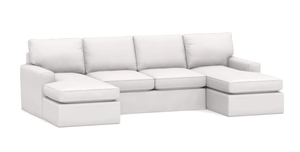 "Carmel 132"" x 62"" Slipcovered U-Shape Sectional - 3 Slipcovered Sectional"