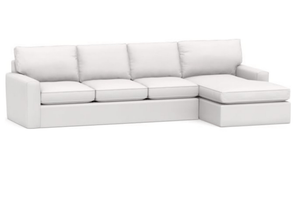 "Carmel 133"" x 62"" Slipcovered Sectional w/Lounge - 4 Slipcovered Sectional"