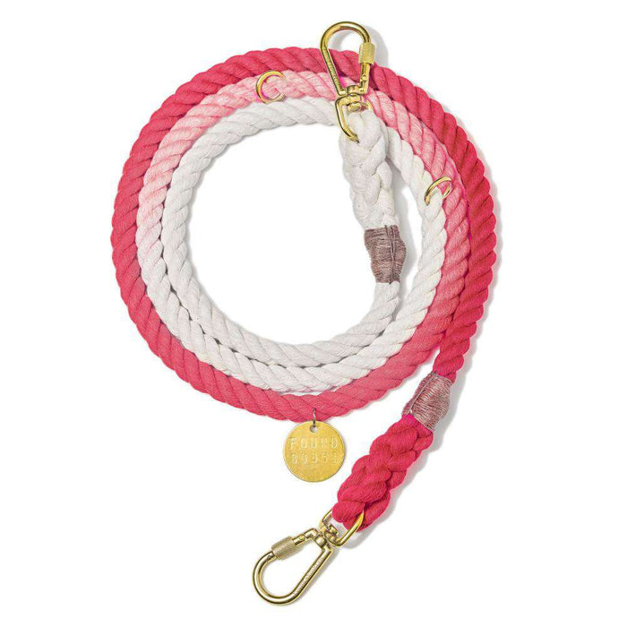 Coral Ombre Cotton Rope Dog Leash, Adjustable