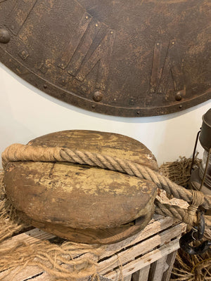 Vintage Weathered Wood Pulley with Rope Vintage