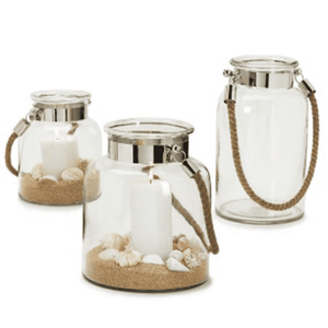 Glass Lantern with Nickel Banding and Authentic Jute Rope Handles (3 shapes in various sizes) Accessory