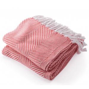 Cotton Monhegan-Herringbone Throw - White/Coral Throw