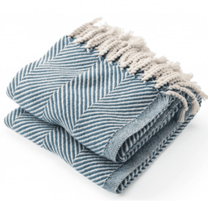 Cotton Monhegan-Herringbone Throw - Natural & Indigo Throw