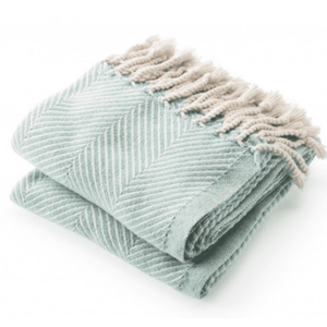 Cotton Monhegan-Herringbone Throw - Natural & Island Blue Throw