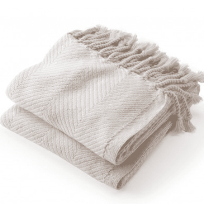 Monhegan Herringbone Cotton Throw - White/Oyster