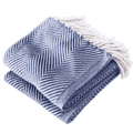 Cotton Monhegan-Herringbone Throw - Soft White Navy Throw