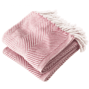 Cotton Monhegan-Herringbone Throw - Soft White Grenache Throw