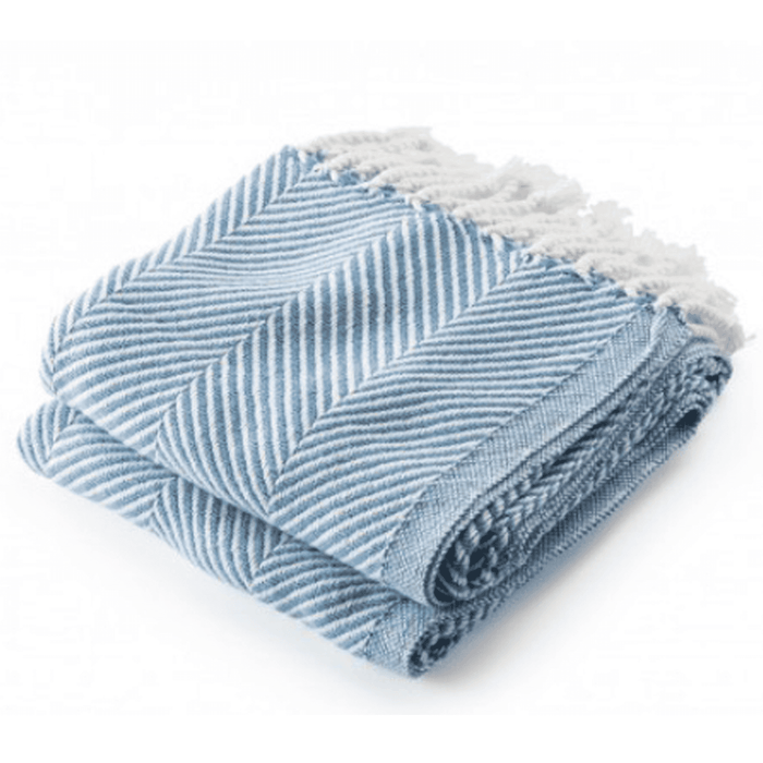Cotton Monhegan-Herringbone Throw - Soft White & Denim Blue