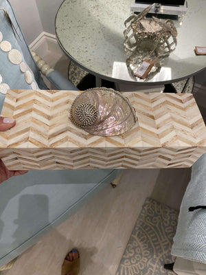 Tan Chevron Bone Inlay Box Decor