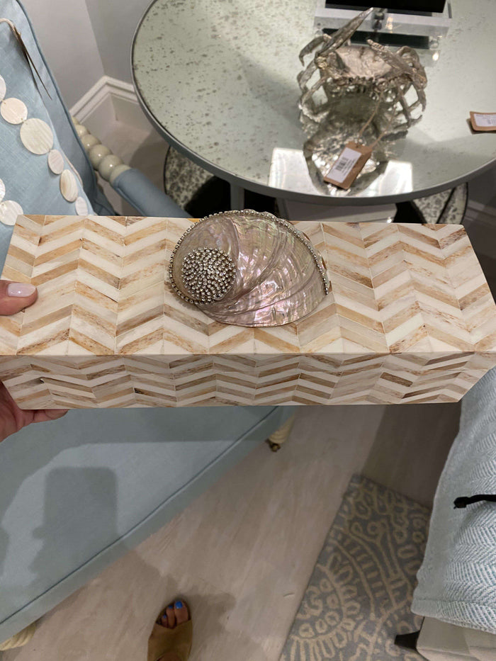 Tan Chevron Bone Inlay Box
