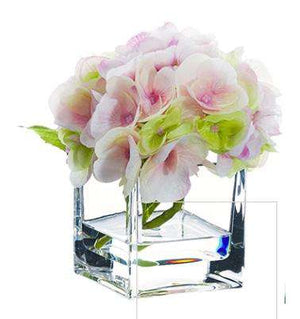 "Pink Hydrangea in Glass Vase 5.5"" Floral"