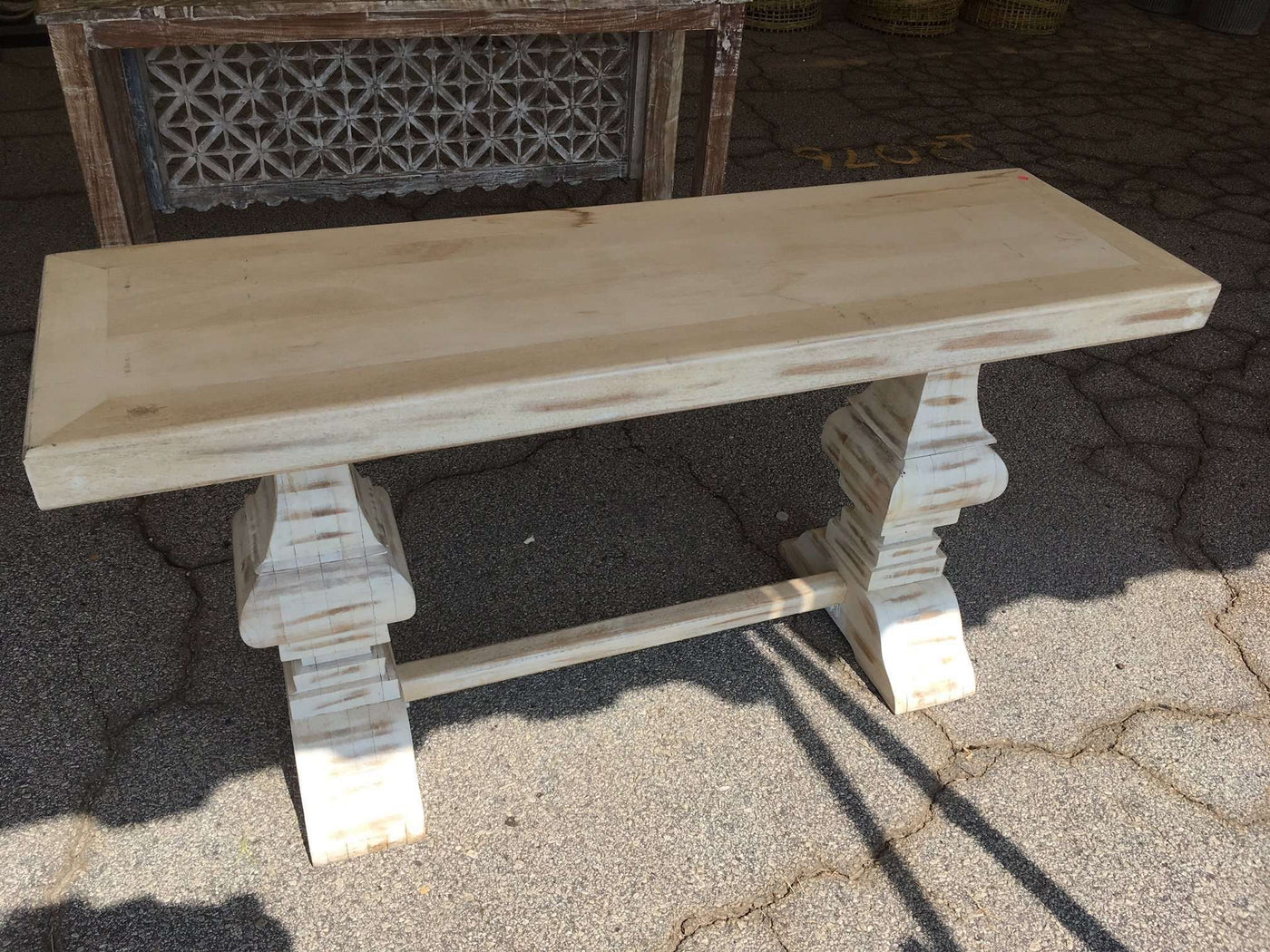 Picture of: Distressed Whitewashed 60 Console Table Our Boat House
