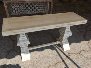 "Distressed Whitewashed 60"" Console Table Console"