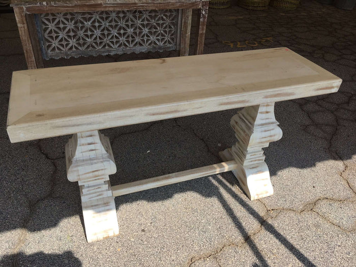 "Distressed Whitewashed 60"" Console Table"