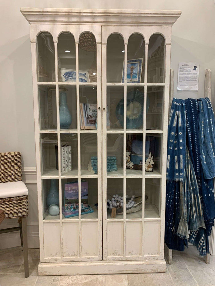 Tall Arched Glass Door White Wood Cabinet