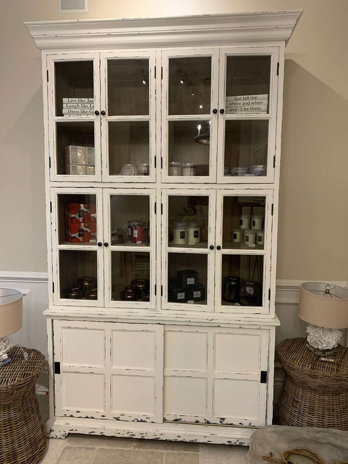 Tall Glass Door White Cabinet