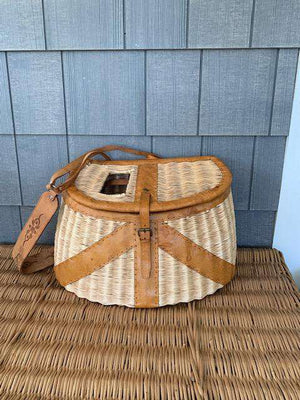 "Vintage English Creel 1950""s Fishing Basket Decor"
