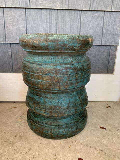 Solid Teak Stool - Blue